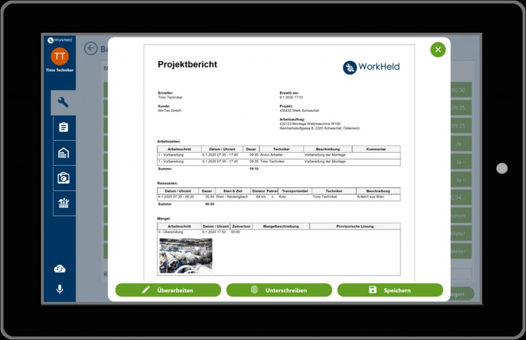 Digitale Berichte mit WorkHeld